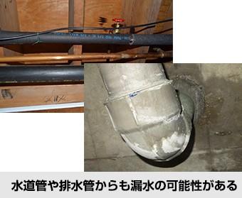 水道管や排水管からも漏水の可能性がある