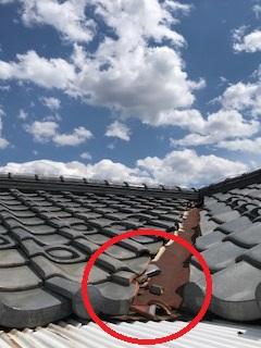 2階屋根瓦補修