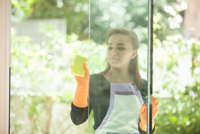 写真AC 掃除 窓を磨く女性6