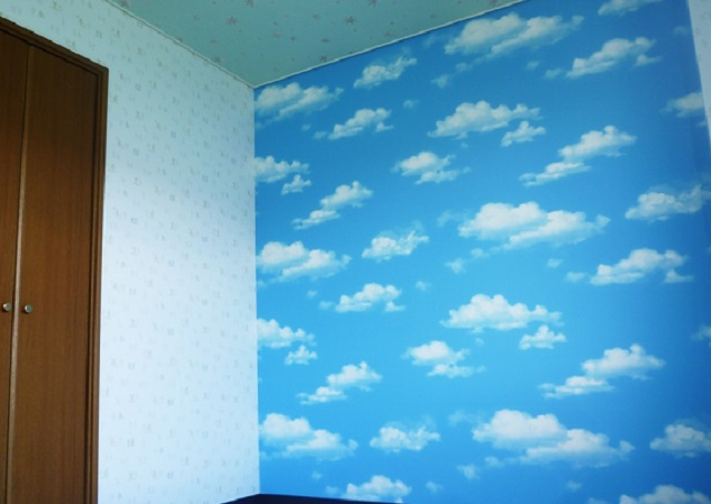 子供部屋 空 雲 ビニルクロス