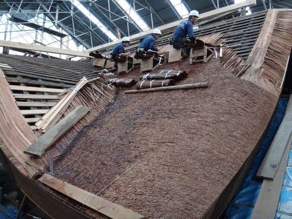 唐門檜皮葺き工事
