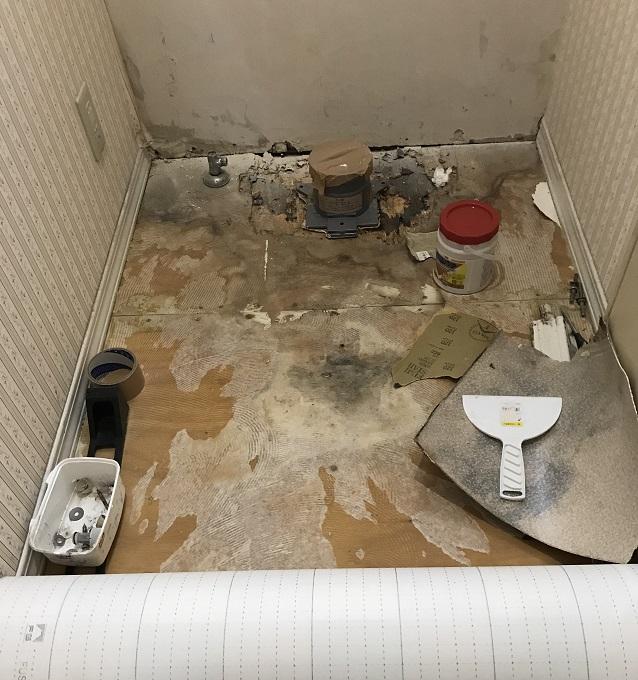 トイレ水漏れ SFシート剥がし