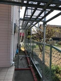 屋根工事 足場組立