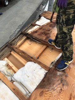 屋根リフォーム 野地板はがし