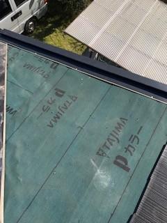笛吹市のスレート屋根補修工事でスレート材を一部葺き直しです
