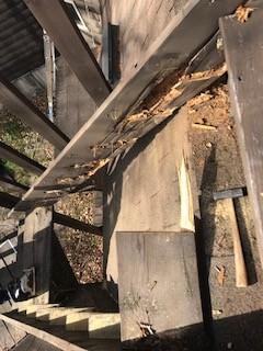 ウッドデッキ階段 改修
