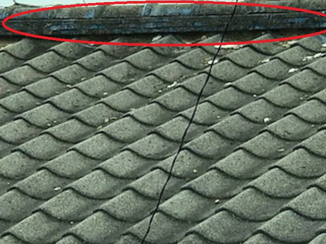 屋根 漆喰状態