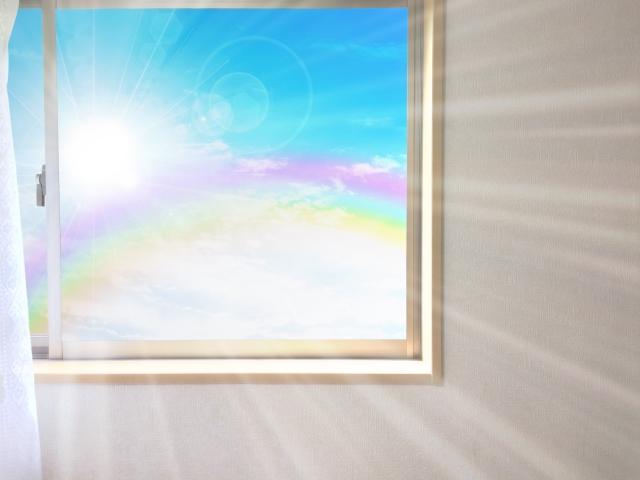 写真AC 我が家の窓から虹 窓