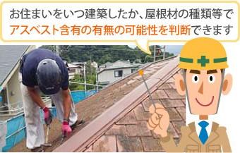 建築時期や屋根材の種類でアスベスト含有の有無を判断できます